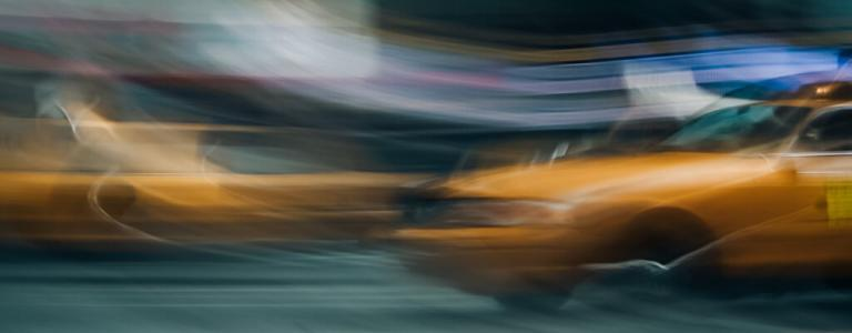 Blurry New York taxi.